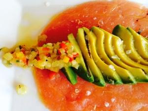 Tuna Carpaccio with avocado and mango salad and rock salt #sonomawinebar