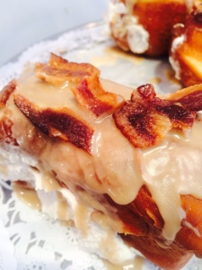Maple Bacon Doughnut with maple crème and maple frosting!!